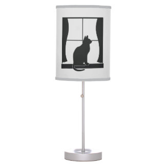 Cat at Window in Silhouette Table Lamp