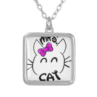 Cat baby silver plated necklace