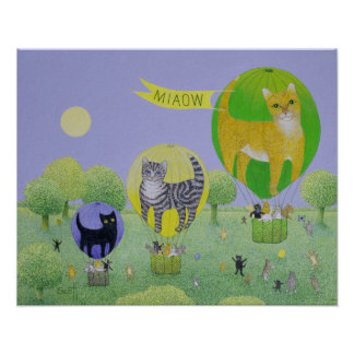 Cat Balloon Race Poster