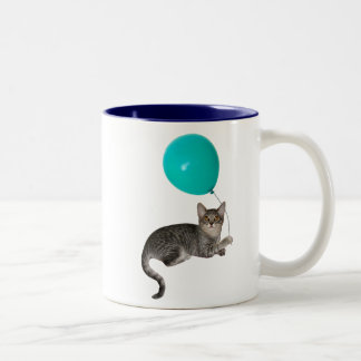 Cat Balloon Two-Tone Coffee Mug