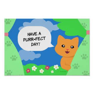 Cat behind a curtain wishing a Purrfect Day Poster