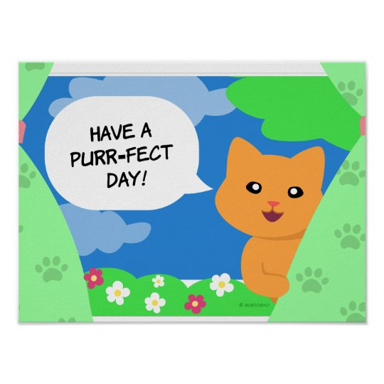 Cat behind a window curtain wishing a Purrfect Day Poster