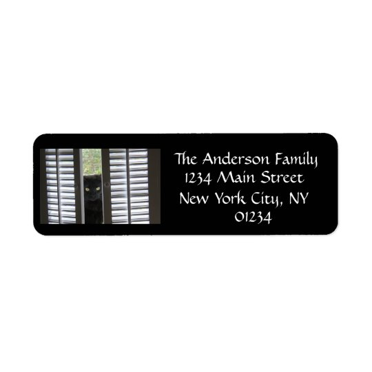 Cat Behind Shutters black/white return address Return Address Label