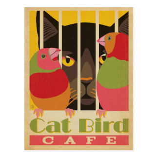 Cat Bird Café Postcard