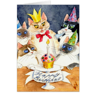 Cat Birthday party greeting card