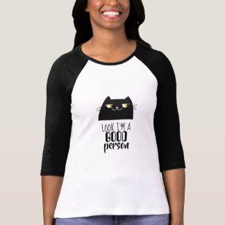 Cat Black Hot Devil Funny Good Person Cartoon Cool T-Shirt