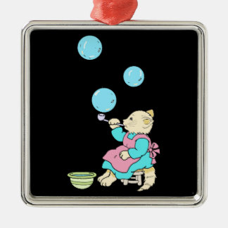 Cat Blowing Bubbles From Tube - Cartoons Silver-Colored Square Ornament