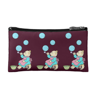Cat Blowing Bubbles  - Ladies Cosmetic Bag