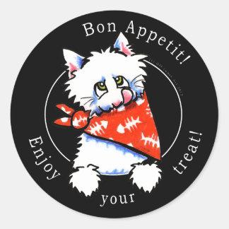 Cat Bon Appetit! Pet Gourmet Treats Black Round Sticker