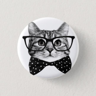 cat bow tie - Glasses cat - glass cat 1 Inch Round Button