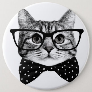 cat bow tie - Glasses cat - glass cat 6 Inch Round Button