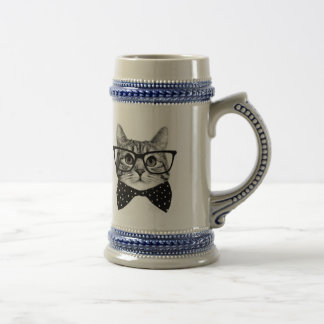 cat bow tie - Glasses cat - glass cat Beer Stein