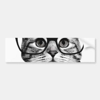 cat bow tie - Glasses cat - glass cat Bumper Sticker
