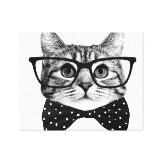 cat bow tie - Glasses cat - glass cat Canvas Print