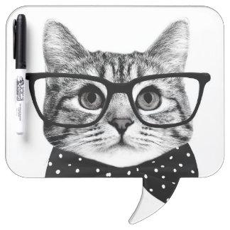 cat bow tie - Glasses cat - glass cat Dry Erase Board