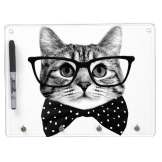 cat bow tie - Glasses cat - glass cat Dry Erase Board With Keychain Holder