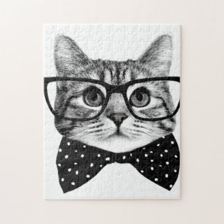 cat bow tie - Glasses cat - glass cat Jigsaw Puzzle