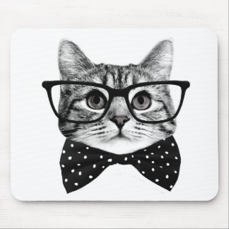 cat bow tie - Glasses cat - glass cat Mouse Pad
