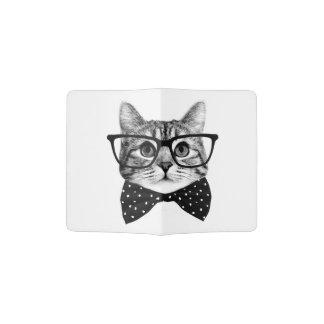 cat bow tie - Glasses cat - glass cat Passport Holder
