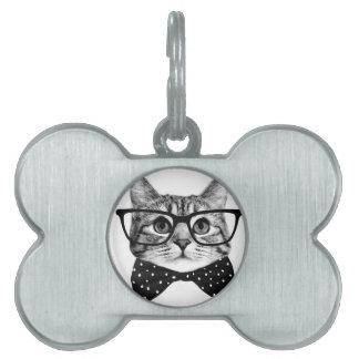 cat bow tie - Glasses cat - glass cat Pet Tag