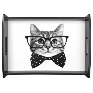 cat bow tie - Glasses cat - glass cat Serving Tray