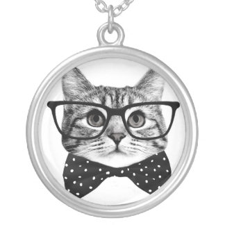 cat bow tie - Glasses cat - glass cat Silver Plated Necklace