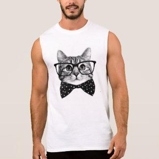 cat bow tie - Glasses cat - glass cat Sleeveless Shirt