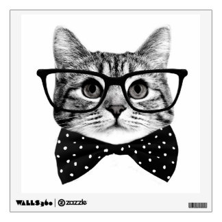 cat bow tie - Glasses cat - glass cat Wall Decal