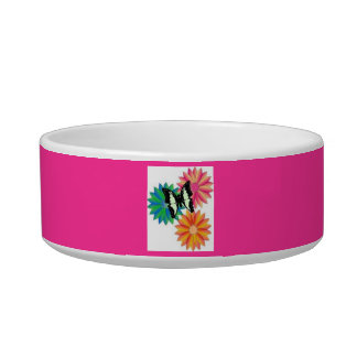 Cat Bowl(butterfly and flowers) Pet Food Bowl