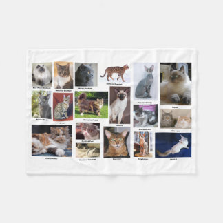 Cat Breeds Full Color Photo Blanket