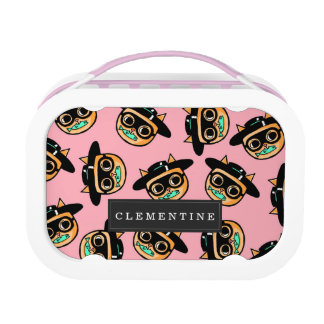 Cat Burglar Illustration Pattern with First Name Lunch Box