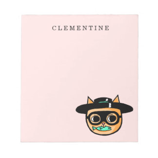 Cat Burglar Illustration with First Name Notepad