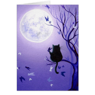 Cat Butterfly Swirl Greeting Card