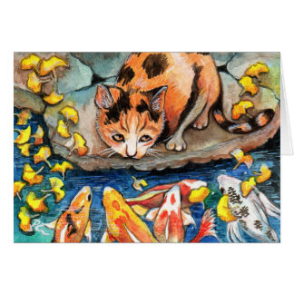 Cat by Koi Pond Card
