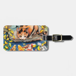 Cat by Koi Pond Luggage Tag