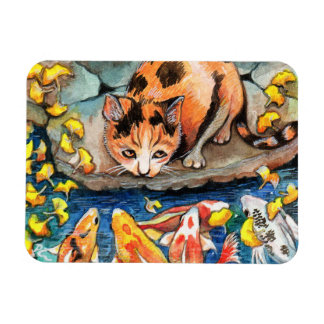 Cat by Koi Pond Magnet