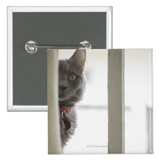Cat by window 2 inch square button