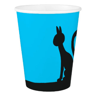 Cat calmly watching in silence paper cup