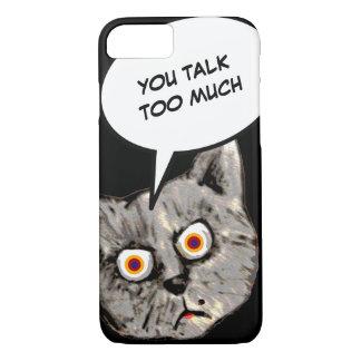 cat cartoon, you talk too much iPhone 7 case