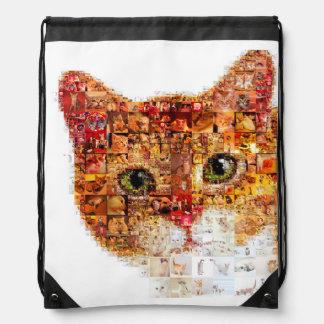 Cat - cat collage drawstring bag