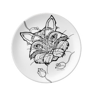 CAT & CATNIP MICE YOU COLOR IT PORCELAIN PLATE