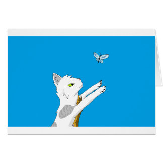 Cat chasing butterfly. greeting card