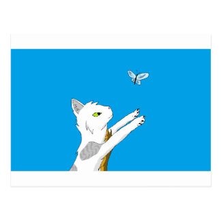 Cat chasing butterfly. postcard