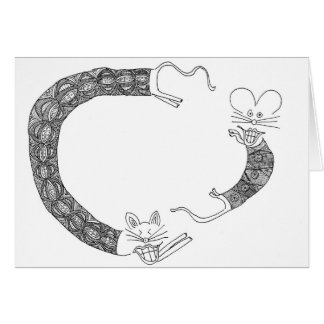 cat chasing mouse greeting card