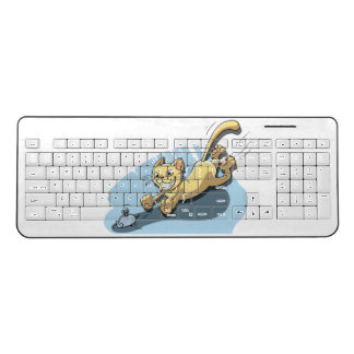 Cat Chasing Mouse Wireless Keyboard