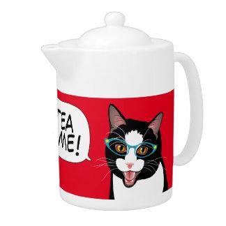 Cat Chat TEA TIME! by BlissAndKittens Tuxedo kitty