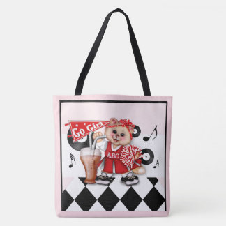 CAT CHEERLEADER CUTE All-Over-Print Tote Bag Large
