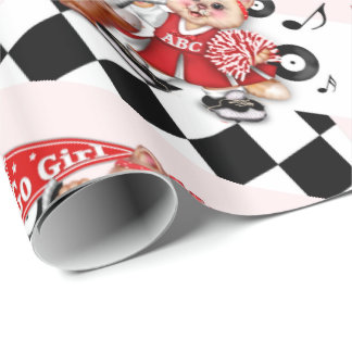CAT CHEERLEADER CUTE CARTOON Wrapping Paper