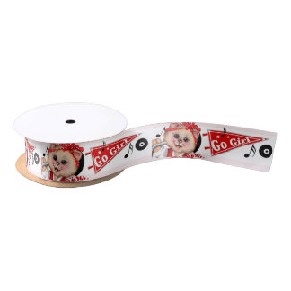 CAT CHEERLEADER CUTE GIRL CARTOON Satin Ribbon