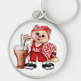 CAT CHEERLEADER CUTE Premium Round Keychain L